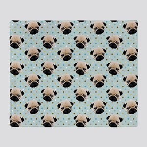 Pugs on Polka Dots Throw Blanket